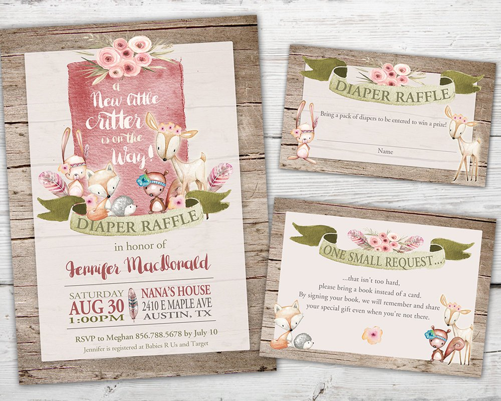 Printable Woodland Baby Shower Invitation Set for a Forest Baby Shower theme