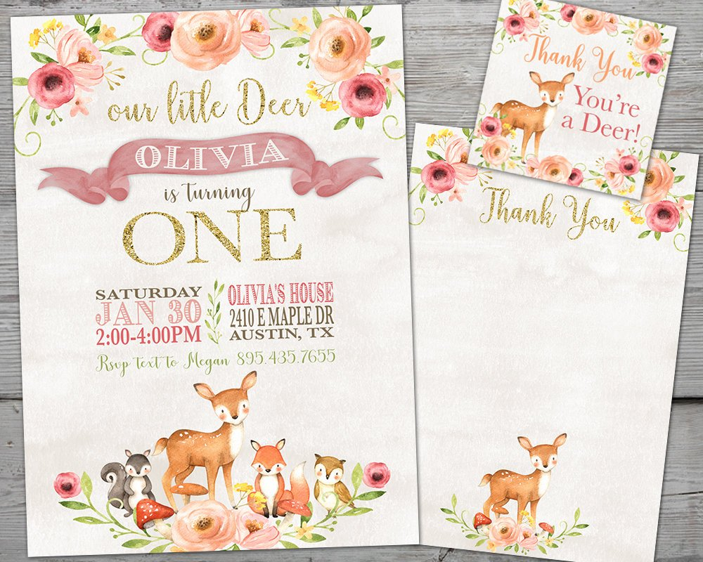 Our Little Deer Birthday Invitation, Our Little Deer First Birthday Girl Deer First Birthday Invitation Deer Birthday Invitation PRINTABLE