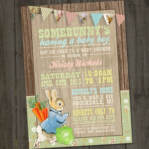 Printable Peter Rabbit Baby Shower Invitation set for a Peter Cottontail Baby Shower Theme