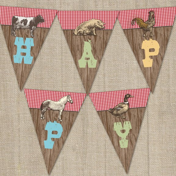 Printable Old MacDonald On The Farm Happy Birthday Party Banner for a Barnyard Birthday Party