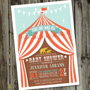 Printable Circus Baby Shower Invitation for a Fun Circus Themed Baby Shower