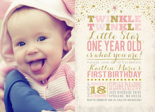 Load image into Gallery viewer, Twinkle Twinkle Little Star Birthday Invitation with Photo for a Twinkle Twinkle Little Star Birthday Party