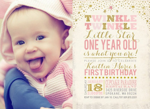 Twinkle Twinkle Little Star Birthday Invitation with Photo for a Twinkle Twinkle Little Star Birthday Party