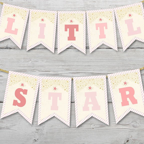 Printable Twinkle Twinkle Little Star Birthday Pendant Banner