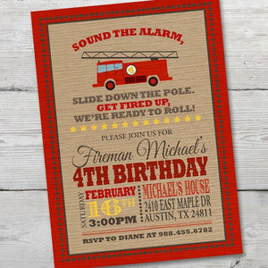 Firetruck Birthday Invitation for a Fireman Birthday Party Theme