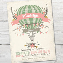Load image into Gallery viewer, Hot Air Balloon First Birthday, Hot Air Balloon Invitation, Hot Air Balloon Party, DIGITAL, Up Up and Away Invitation, Balloon Invite