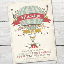 Load image into Gallery viewer, Hot Air Balloon Invitation, Hot Air Balloon Birthday Invitation, DIGTIAL, Girl Hot Air Balloon Invitation, Hot Air Balloon Party Invitation