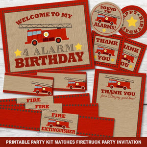 Printable Firetruck Birthday Party Kit for a Fireman Birthday Party Theme