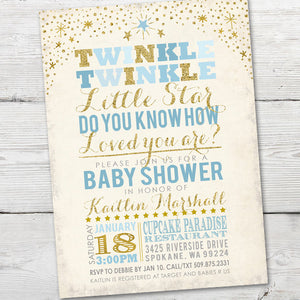 Printable Twinkle Twinkle Little Star Baby Shower Invitation for a Twinkle Twinkle Baby Shower Theme Party