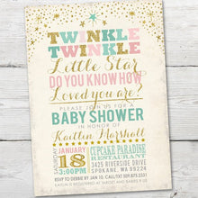 Load image into Gallery viewer, Printable Twinkle Twinkle Little Star Baby Shower Invitation for a Twinkle Twinkle Baby Shower Theme Party