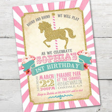 Load image into Gallery viewer, Printable Carousel Birthday Invitation for a fun Merry Go Round Birthday Party