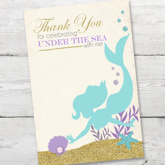Mermaid Birthday Thank You Card, PRINTABLE Mermaid Birthday Invitation, DIY Thank You Card Instant Download