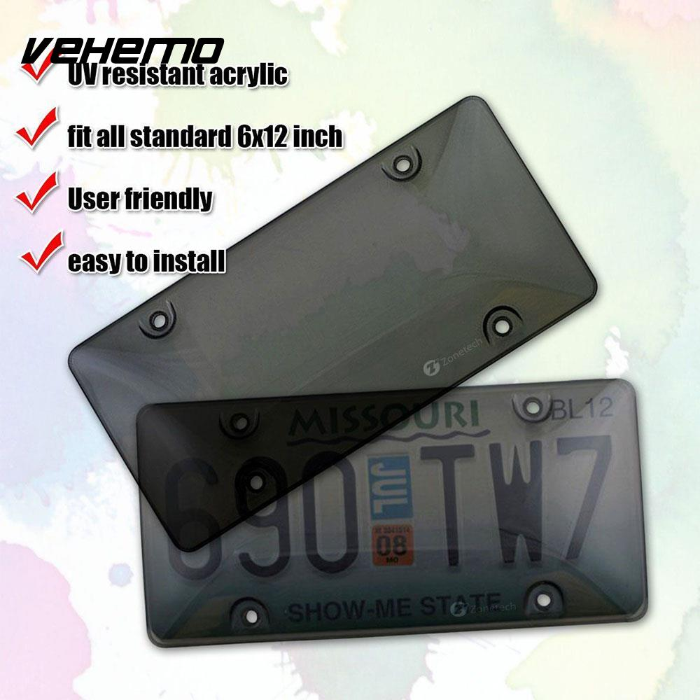 Tinted Smoke Durable License Plate Frame Shield Cars Bumpers License Tag Exterior Truck