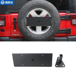 MOPAI Metal Car Exterior Rear Tail Spare Tire License Plate Bracket Holder for Jeep Wrangler 2007 Up Car Accessories Styling