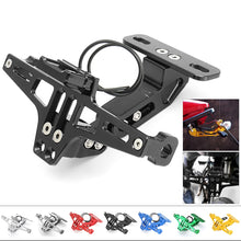 Load image into Gallery viewer, Universal CNC Frame Motorcycle License Number Plate Holder Bracket with LED Light Adjustable