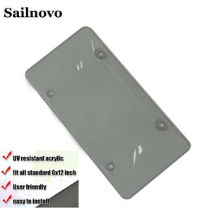 Sailnovo 2Pcs 30.7x15.7x0.6cm Car License Frame Good Quality Convex Dust-Proof Protective Cover Auto License Frame