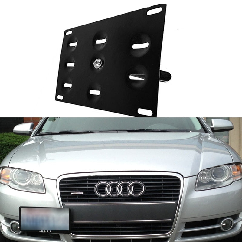 Bumper Tow Hook License Plate Mounting Bracket Holder For Audi A4