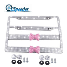 Load image into Gallery viewer, ESPEEDER Lovely Bowknot License Plate Frames Tag Covers Bling Glitter Crystal License Plate Frame For USA Canada Standard