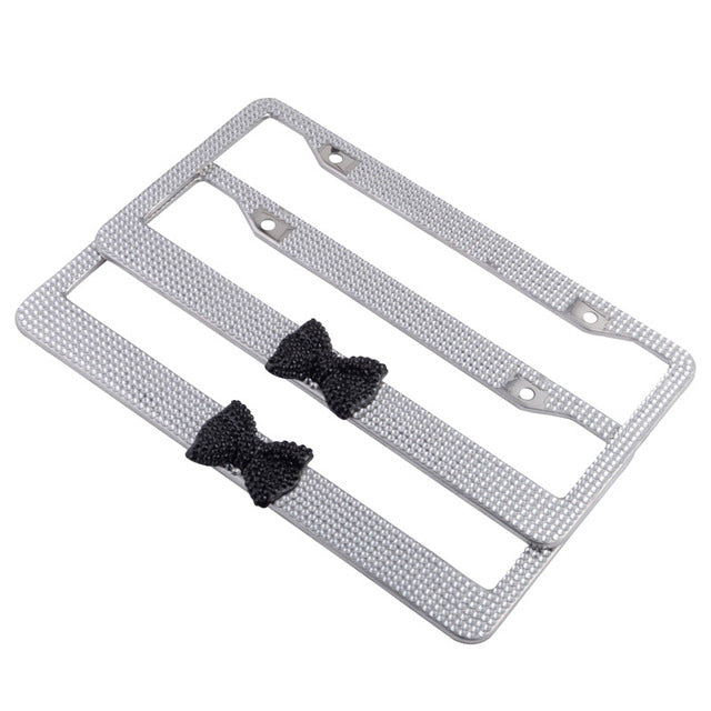 ESPEEDER Lovely Bowknot License Plate Frames Tag Covers Bling Glitter Crystal License Plate Frame For USA Canada Standard