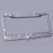 Load image into Gallery viewer, Bling Bling License Plate Frames -2 PACK-8 Row Pure Handmade Waterproof Glitter Rhinestones Crystal License Frames plate for Car