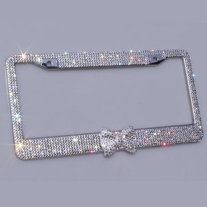 Bling Bling License Plate Frames -2 PACK-8 Row Pure Handmade Waterproof Glitter Rhinestones Crystal License Frames plate for Car