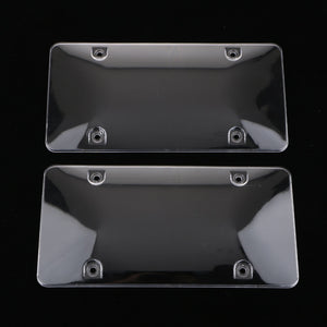 2x Clear License Plate Tag Shield Cover Frame for US Cars Trucks 4 Holes