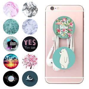 POP Round Mobile Phone Holder Socket 3MM Sticker Marble Steady Bracket Car Mount Phone Stand for iPhone Huawei Samsung