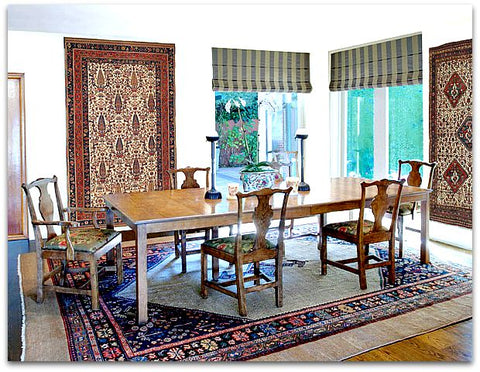 oriental rugs on walls