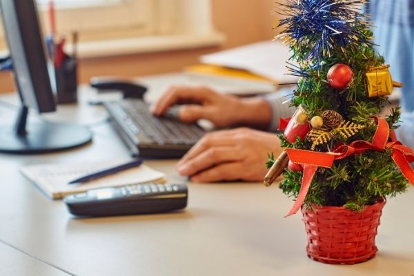 Christmas decorations on desk