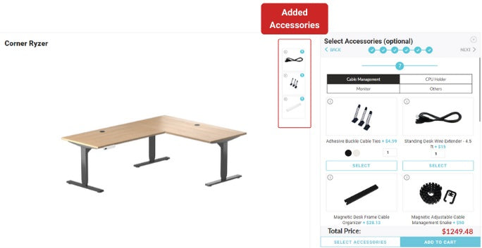 Image of online builder with option selecting accessories desk's