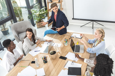 Photo of a multicultural business team at a meeting
