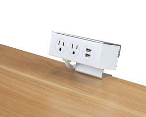 2 Plug Desk Clamp Power Bar w/ USB Ports #5