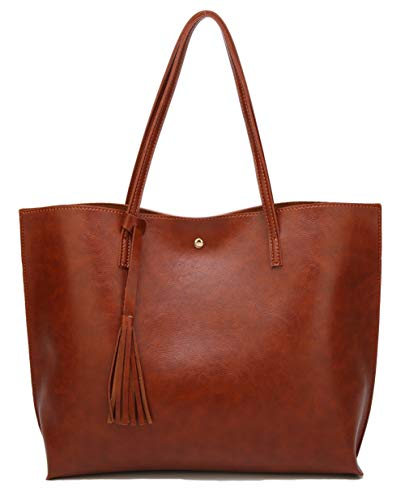 Women's Soft Leather Tote Shoulder Bag from Dreubea, Big Capacity Tassel Handbag Brown (New Style): Gateway