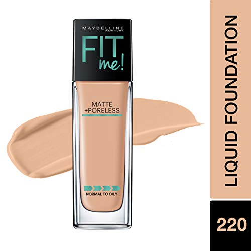 Maybelline Fit Me Matte + Poreless Liquid Foundation Makeup, Natural Beige, 1 fl. oz. Oil-Free Foundation : Beauty