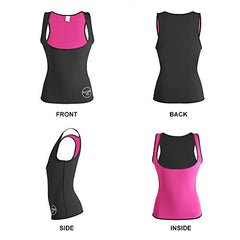 ALONG FIT Neoprene Waist Trainer for Women Sauna Vest Corset for Weight Loss Hot Slimming Sweat Vest Tank Top Black-Pink: Beauty