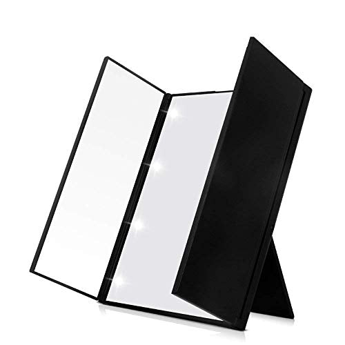 Cosprof 8 Lights Folding LED Makeup Mirror - Adjustable Back Stand in 90 Degrees Free Rotation, Controllable Power (Black) : Beauty