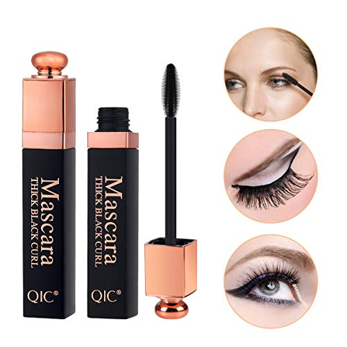 Midenso 4D Lash Mascara Silk Fiber Eyelash Mascara Waterproof Thicker Longer Voluminous Eyelashes Makeup Long Lasting with Hypoallergenic Ingredients Non-toxic and Natural (Black Gold) : Beauty