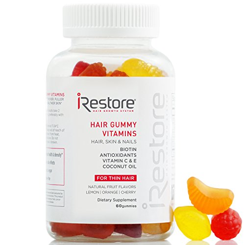 iRestore Hair Gummy Vitamins with Biotin, Vitamins C & E, Coconut Oil, Turmeric - Vegan, Gluten Free, Natural Hair Growth, Skin & Nails Supplements - for Men & Women: Gateway