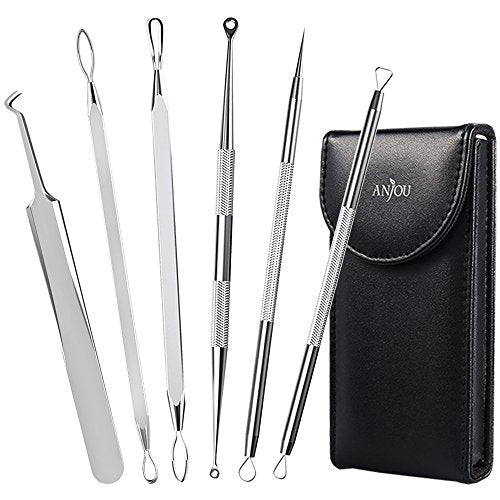 Anjou Blackhead Remover Comedone Extractor, Curved Blackhead Tweezers Kit, 6-in-1 Professional Stainless Pimple Acne Blemish Removal Tools Set, Silver: Beauty