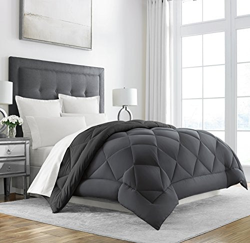 Sleep Restoration Goose Down Alternative Comforter - Reversible - All Season Hotel Quality Luxury Hypoallergenic Comforter -Full/Queen - Grey/Black: Gateway