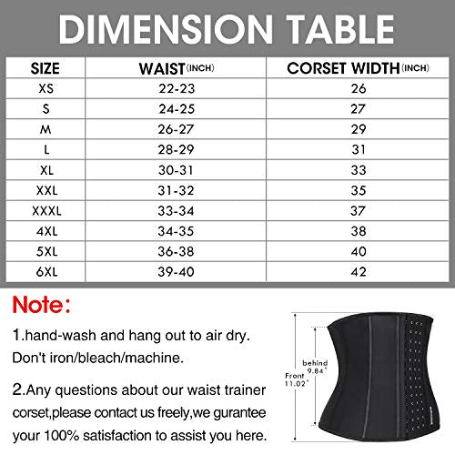 Burvogue Waist Trainer Corset for Women-Sport Latex Cincher Underbust Shapewear Black: Beauty
