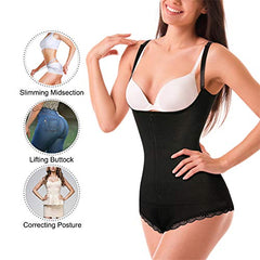 Eleady Women's Latex Waist Trainer Bodysuit Tummy Control Shapewear Full Body Shaper Open Bust Corset at Amazon Women's Clothing store: