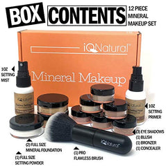 IQ Natural Mineral Makeup Set - 12 Piece Bare Matte Foundation Starter Set with Flawless Face Brush: Beauty