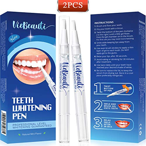 Teeth Whitening Pen(2 Pack), Safe 35% Carbamide Peroxide Gel, 20+ Uses, Effective, Painless, No Sensitivity, Travel-Friendly, Easy to Use, Beautiful White Smile, Natural Mint Flavor : Beauty