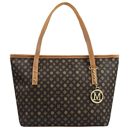 Micom Casual Signature Printing Pu Leather Tote Shoulder Handbag with Metal Decoration for Women (R Signature): Gateway