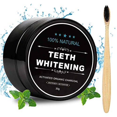 Activated Charcoal Natural Teeth Whitener Teeth Whitening Charcoal Powder Proven Safe For Enamel with Bamboo Brush 1.05 oz : Beauty