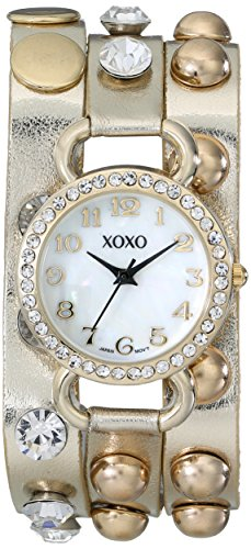 XOXO Women's XO5609  Gold Studded Double Wrap Watch: Clothing
