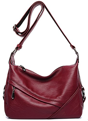 Women's Retro Sling Shoulder Bag from Covelin, Leather Crossbody Tote Handbag Wine Red: Gateway