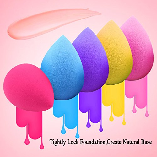 BEAKEY 5 Pcs Makeup Sponge Set Blender Beauty Foundation Blending Sponge, Flawless for Liquid, Cream and Powder, Multi-colored Makeup Sponges  : Beauty