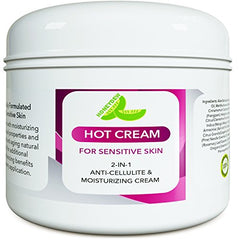Sensitive Skin Body Moisturizer & Hot Cream Fat Burner for Women and Men - All Natural Body Cream with Antioxidant Herbs Botanicals & Fruit Extracts Apple Orange and Mango - Smooth & Brighten Skin : Beauty